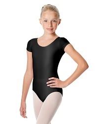 Детский блестящий купальник с короткими рукавами