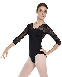 Танцевальный купальник с рукавом из ажурной сетки